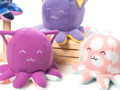 Taneko plushies // handmade octopus cat plush toys