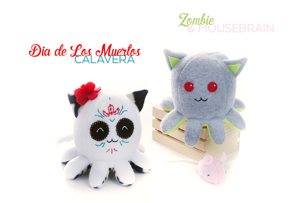 Limited Time Halloween Taneko plushies by Sophia Adalaine // octopus cat octocat handmade plush toy
